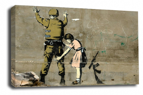 Banksy Art Girl and Soldier Wall Canvas Peace Love Picture